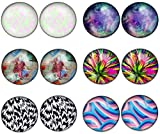 LilMents 6 Pairs of Mixed Pattern Impression Designs Round Stainless Steel Stud Earrings (Set B)