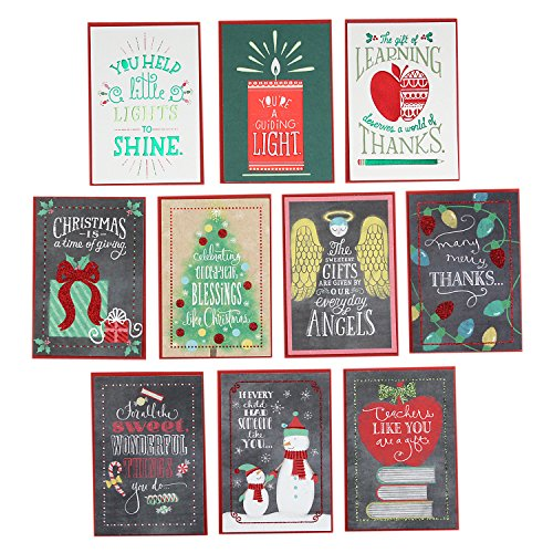 Hallmark Christmas Greeting Cards for Teachers or Babysitters from Kid or Children Assortment (10 Cards/Designs and 10 Envelopes) Christmas Card Kids