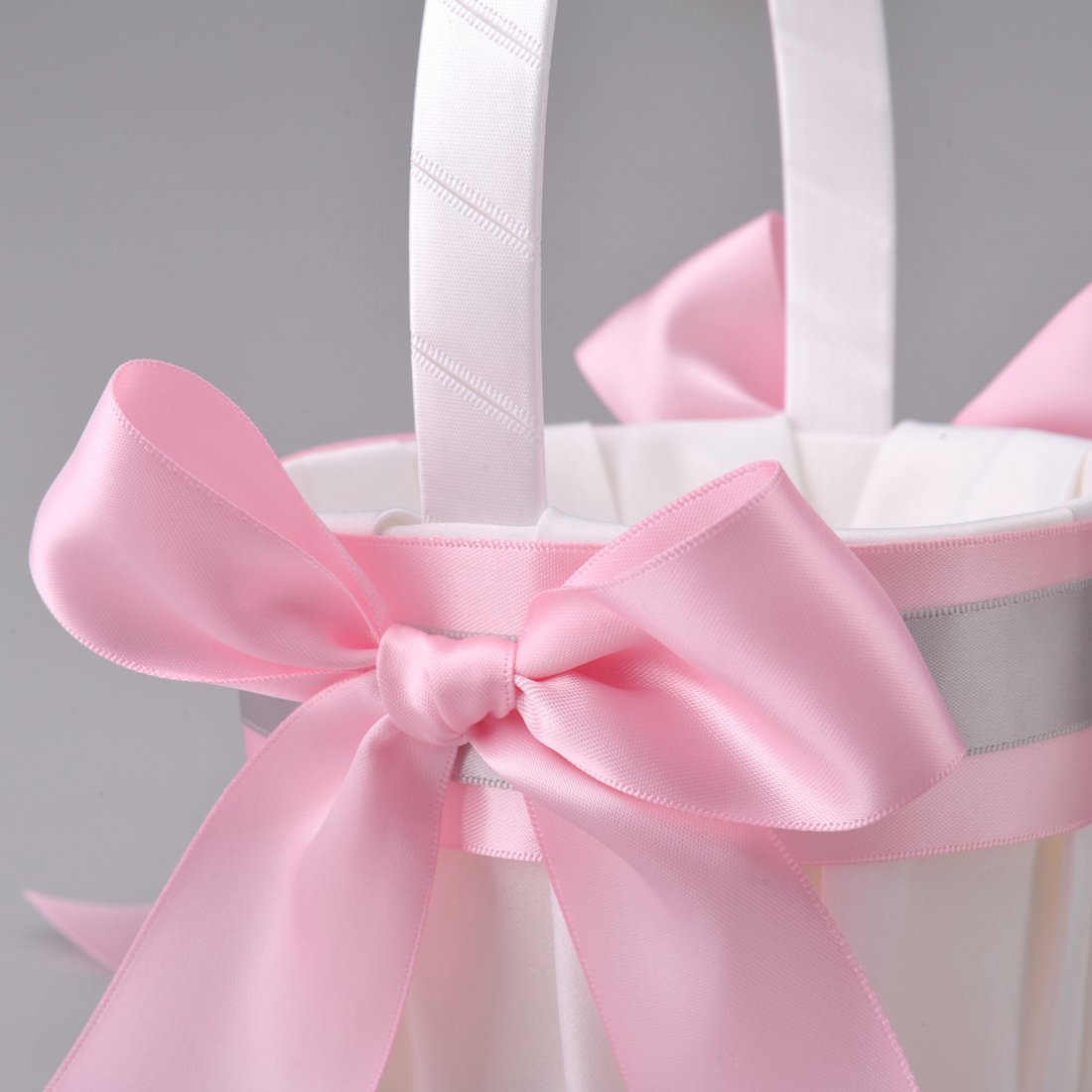 Remedios Boutique Silver and Pink Satin Bow Ribbon Accented White ...