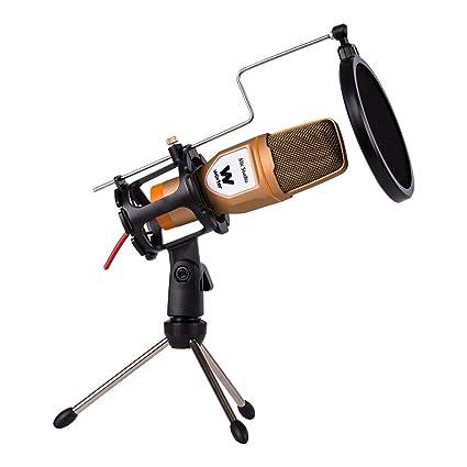 Woxter Mic Studio Golden - Micrófono condensador profesional para ordenador, grabar, jugar, conversar