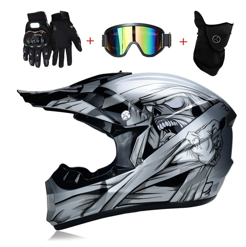 LICIDI Adulte Motocross Casque Dot Certified Four Seasons Off-Road Racing Descente P/édale Casque Lunettes//Masque /à Vent//Gants de Cross Country