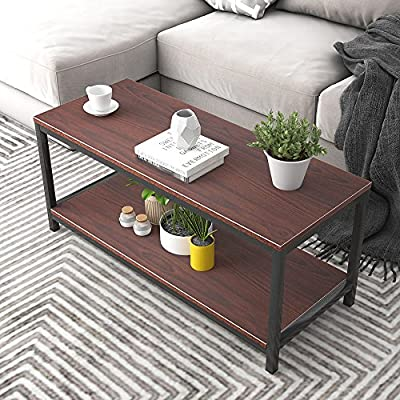 "Soges Modern End Table 40"" Coffee Table TV Stand Side Table Sofa Table, Walnut TVST-ZS-WA-100 - Overall size: 40L * 15.7W * 17.5H inch; compact size but provide large space to use. Functional and modern stylish, blends with any homes, fits in small spaces. Particle wood with wood grain finish, easy to clean; strong powder-coated square steel tubing which ensures stability and durability. - living-room-furniture, living-room, coffee-tables - 61FmlqjP13L. SS400  -"