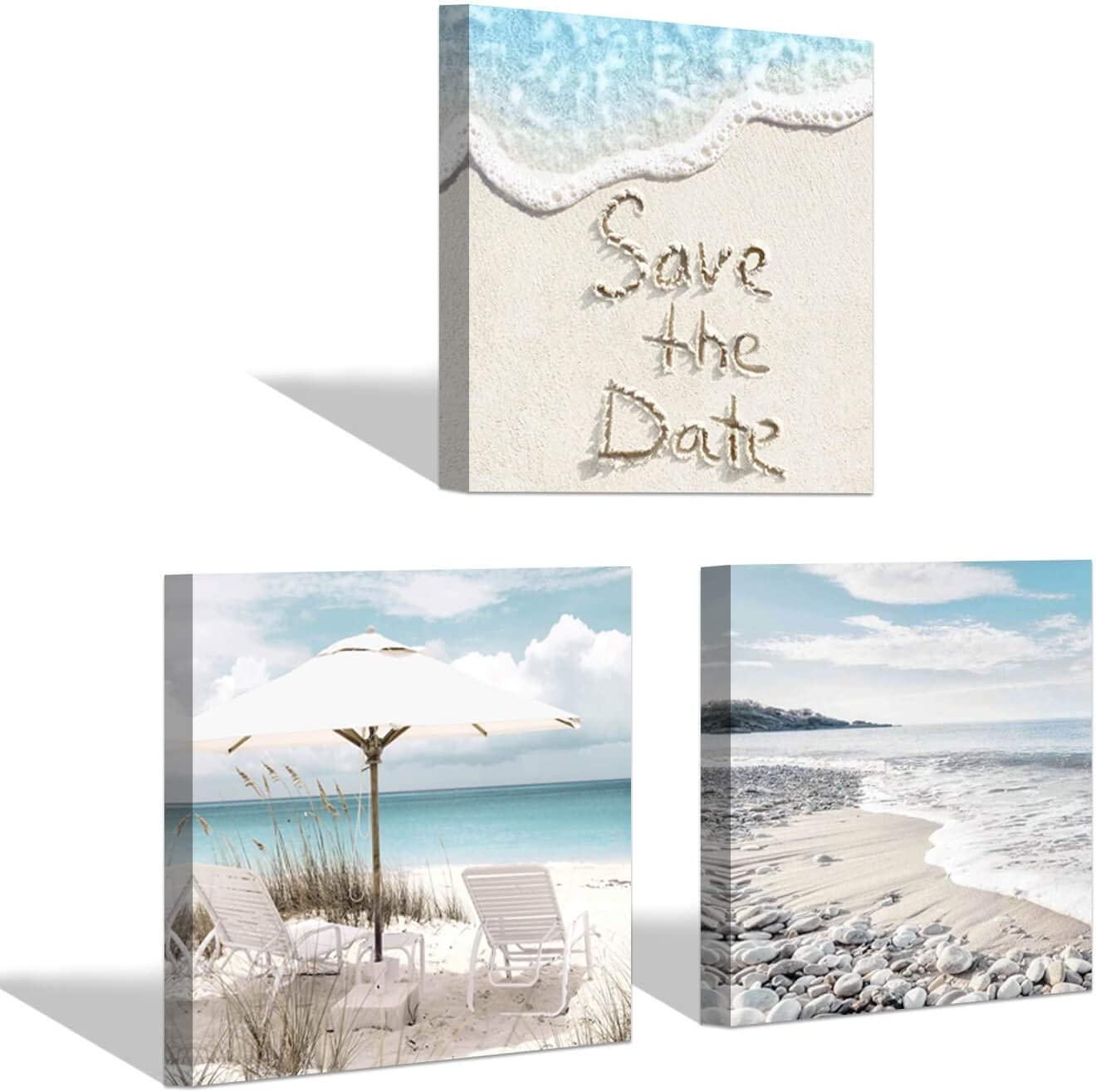 Beach Seascape Artwork Picture Print: Seaside & Coastal Sandy Sea Seascape Canvas Wall Art for Living Room ( 12'' x 12'' x 3 Panels )