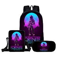 Onlyoustyle Fortnite Infantiles 3D Impresión Escolares Sets de Útiles Niño y Niña Moda Mochila Daypack Backpack Rucksack + Bolso de Bandolera Bags + Bolsa de Papelería Estuche para Lápices