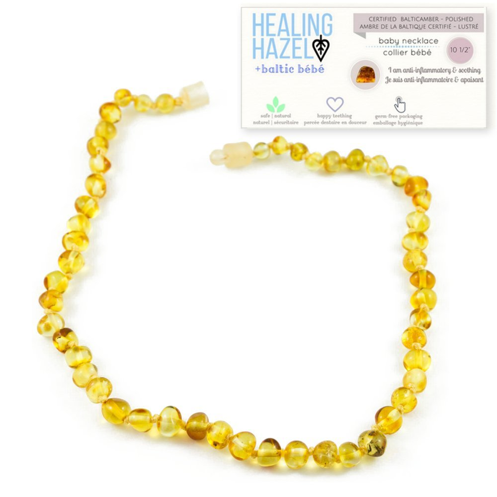 Healing Hazel + baltic bébé – 100% Certified Balticamber Pop Clasp Baby Necklace, Polished Honey, 10.5 inches (reduce drooling & teething pain)