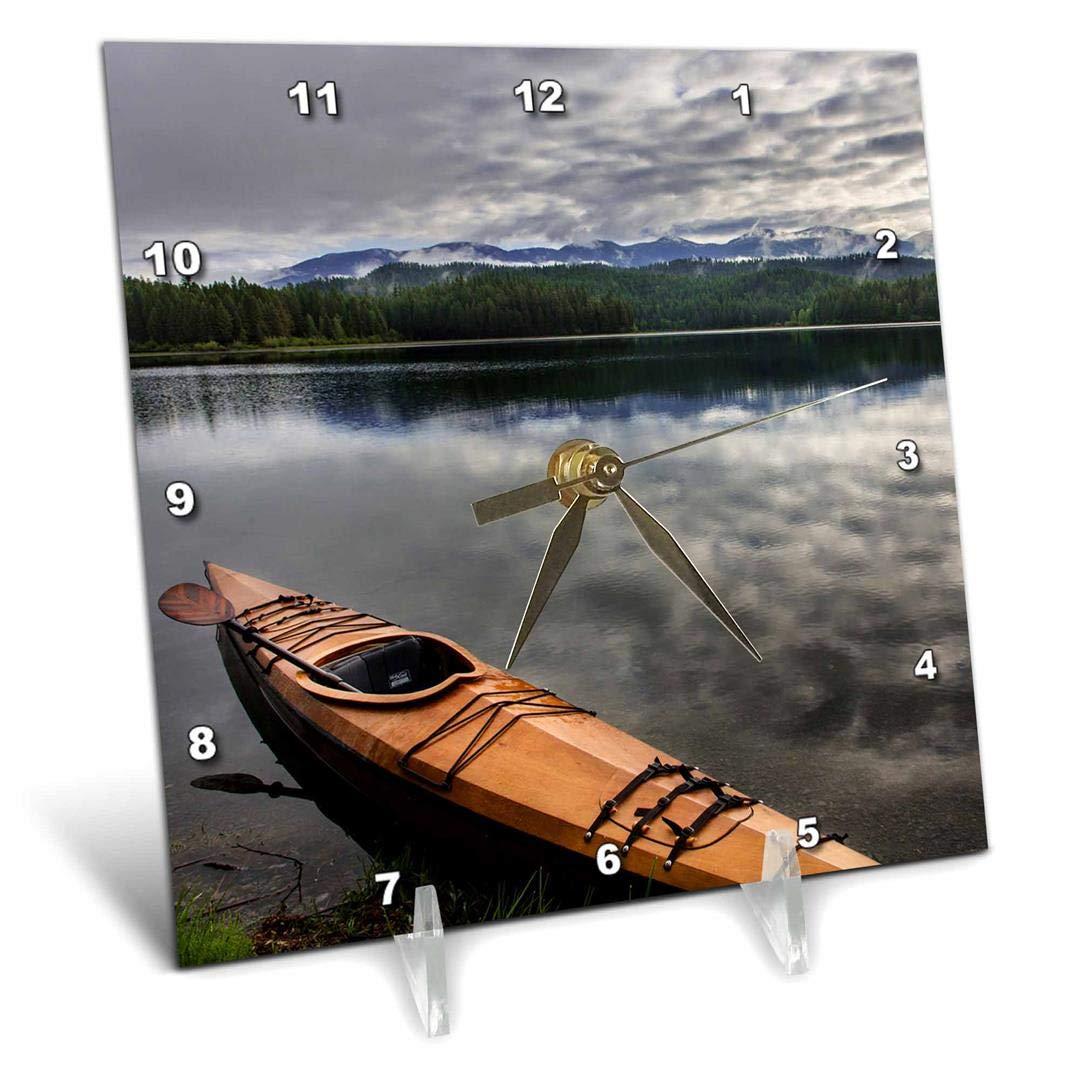 3dRose Wooden Kayak on Shore of Beaver Lake Near Whitefish, Montana, USA. - Desk Clock, 6 by 6-Inch (dc_208779_1)
