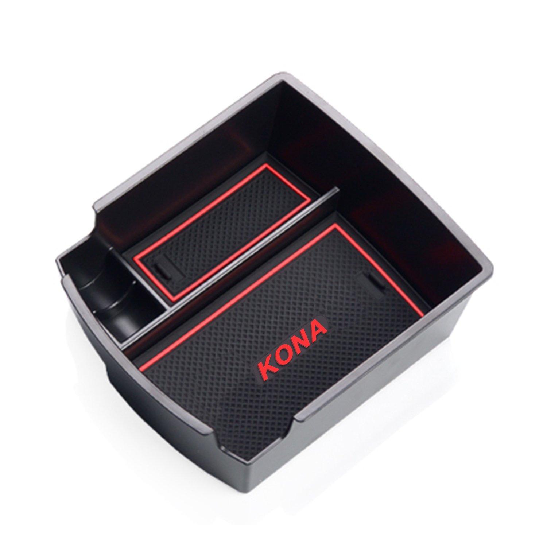 RUIYA Consola central con reposabrazos personalizada para 2018 Kona, bandeja de almacenamiento, organizador de consola, bandeja de inserción, accesorio para el automóvil (En blanco y negro)