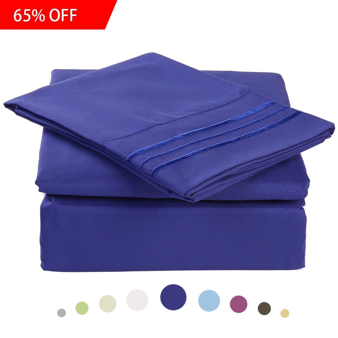 ベッドシートセット – マイクロファイバー寝具深いポケットシート4 pc by Maevis ツイン ブルー B0711YY8L6 ツイン|ネイビーブルー ネイビーブルー ツイン