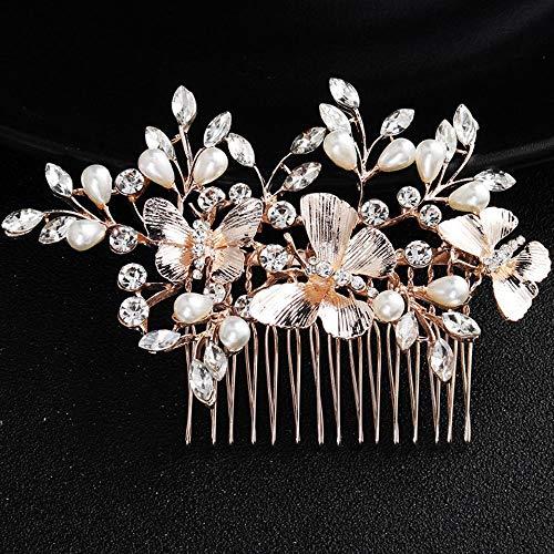 Deniferymakeup Wedding Rhinestone Pearls Butterfly Hair Comb Bridal Vintage Headpiece Crystal Women Hair Comb Bridal Hair Comb Wedding Hair Piece Wedding Accessories (Butterfly Wedding)
