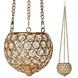 VINCIGANT Crystal Hurricane Candleholders Gold Candle Holder Hanging Ornaments With Chain & Hook,String Light Included,Gifts for Housewarming Holiday Wedding Christmas New Year Decorations