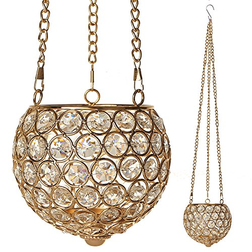 VINCIGANT Gold Hanging Decorative Candle Lanterns Tealight Candle Holder Ornament with Chain & Hook,String Light Included for Anniversary Celebration/Housewarming/Holiday Wedding Gifts