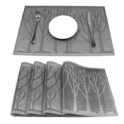 HEBE Placemats for Dining Table Set of 4 Durable Crossweave Woven Vinyl Place Mats Non-slip Insulation Placemat Washable Kitchen Table Mats(4, Grey Tree)