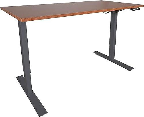 Titan Fitness A2 Adjustable Sit/Stand Desk 30″ x 60″ Cherry Finish Black Frame