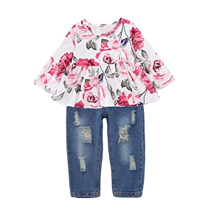 745b7b7f85 Amazon.com: 2018 0-3 Years Toddler Outfits Clothes Set,Baby Girls Floral  Rose Print Tops Denim Pants (12-18 Months, White): Electronics