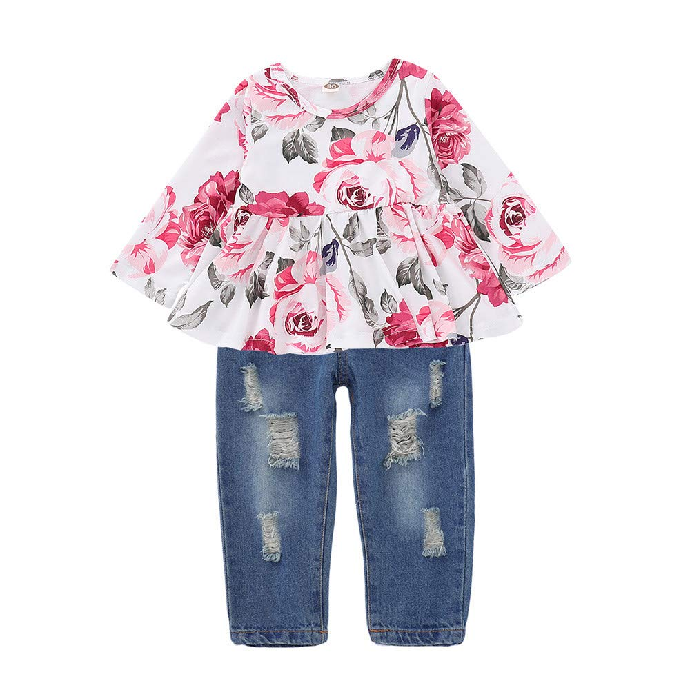 Zerototens Girls Clothes Set, 0-3 Years Old Toddler Infant Girls Long Sleeve Floral Rose Print Tops+Denim Pants Outfits Clothes Set Girl Casual Outfit Clothes