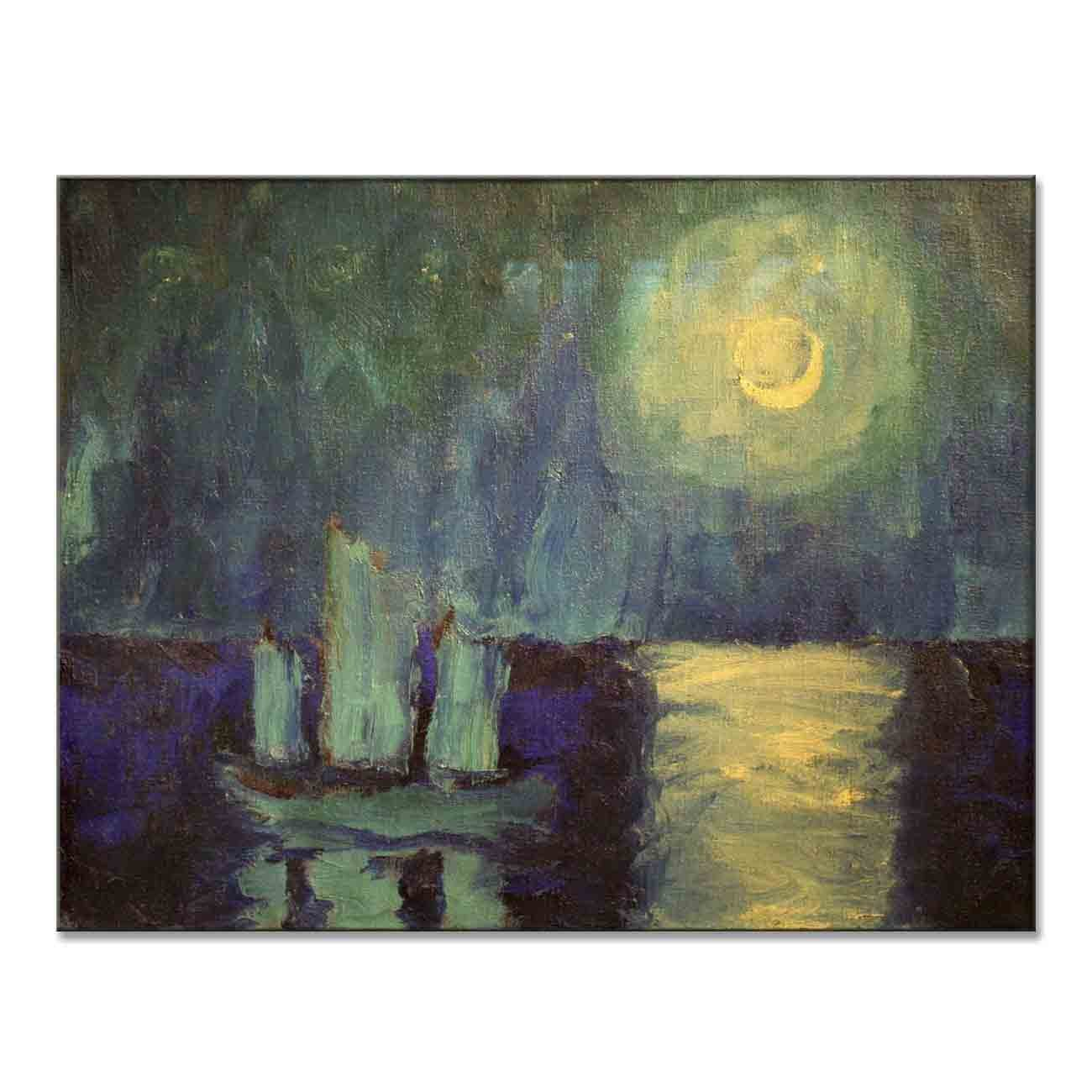 Emil Nolde Moonlit Night 1914 Original Moonlight Canvas Paintings Hand Painted Reproduction Unframed Tablet - 36X28 inch (91X71 cm) for Living Room Bedroom Dining Room Wall Decor To DIY Frame by Neron Art (Image #1)