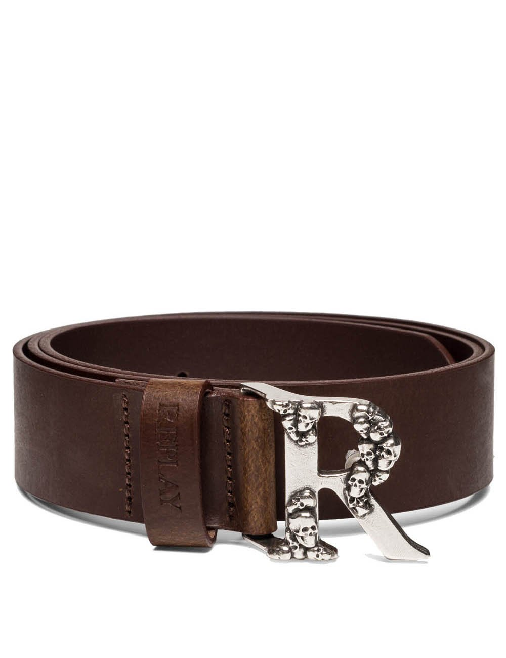 Replay Women's Women's Leather Brown Belt With Skulls in Size 100 Brown