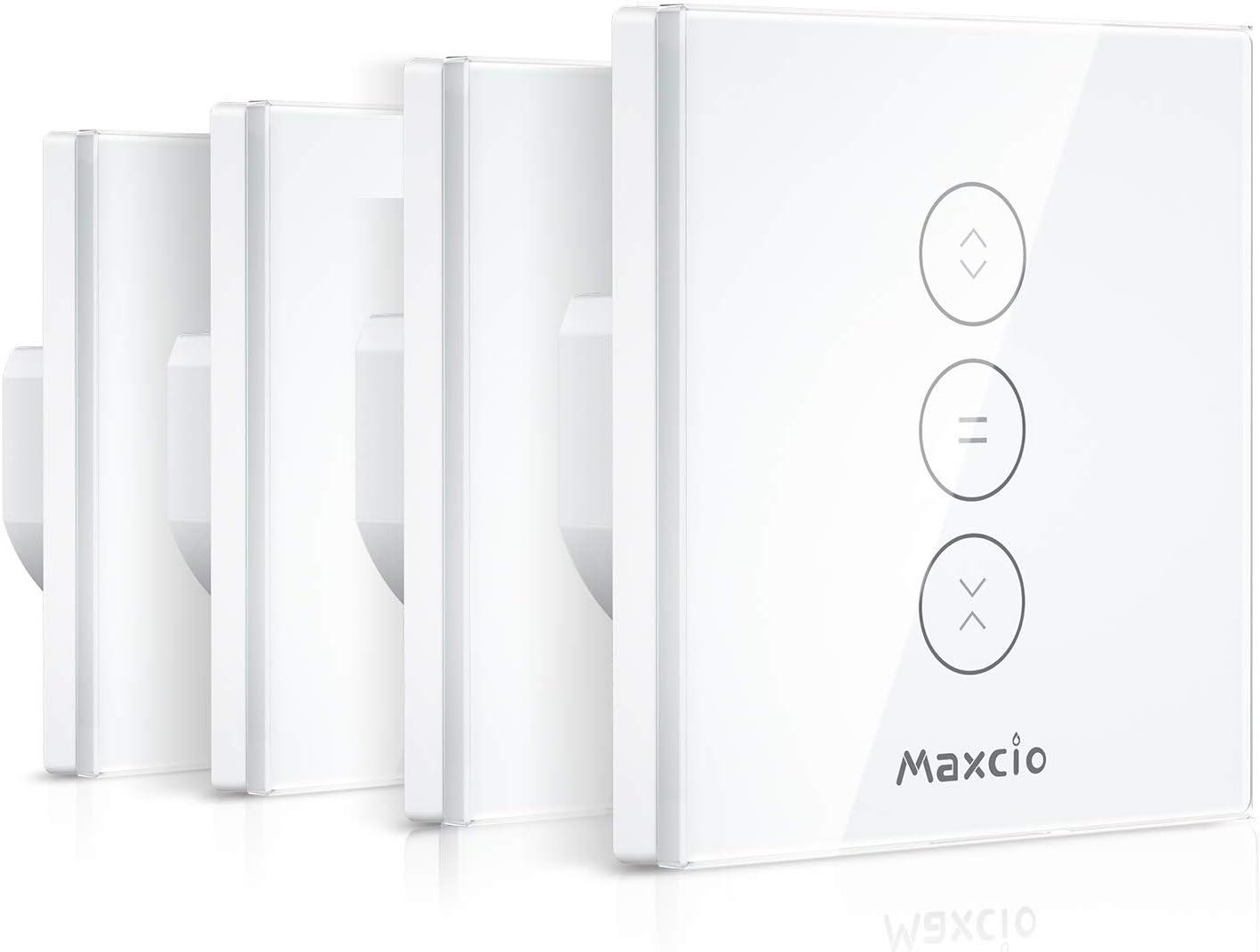 【LED Controlable】Alexa Interruptor Persiana, Maxcio Interruptor Inteligente Control por WiFi y Voz Compatible con Alexa y Google Home con Temporizador para Motor Tubular de Cortinas, 4 Piezas