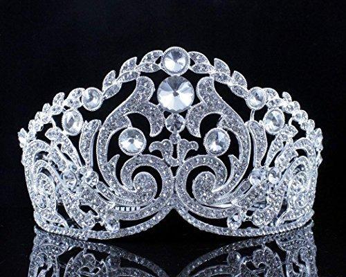 Huge Ornate Austrian Crystal Rhinestone Tiara W Hair Combs Crown Pageant T11926 by Tiara