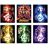 Avengers Infinity War Movie Poster Prints 8x10 - Set of Six Wall Art Photos - Black Panther - Iron Man - Captain America - Doctor Strange - Spiderman - Wong - Thor - Star Lord - Gamora -