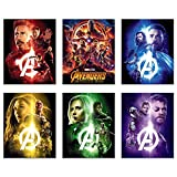 Avengers Infinity War Movie Poster Prints 8x10 - Set of Six Wall Art Photos - Black Panther - Iron Man - Captain America - Doctor Strange - Spiderman - Wong - Thor - Star Lord - Gamora -