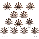 MorTime 12 Pack Turkey Tealight Candle Holders, Bronze Finished Metal Tea Light Candleholders, Thanksgiving Sitting…