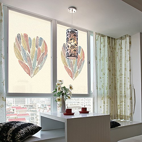 ASIBG Home Electrostatic Grilles Posted Translucent Opaque Frosted Glass Stickers Love Feather Bathroom Window Glass,Width60Cm×High90Cm