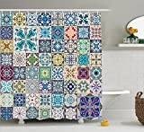 Moroccan Decor Shower Curtain Set By Ambesonne, Floral Patchwork Design With Arabesque Figure And Shapes Mediterranean Symbolic Artisan Work, Bathroom Accessories, 69W X 70L Inches, Multi