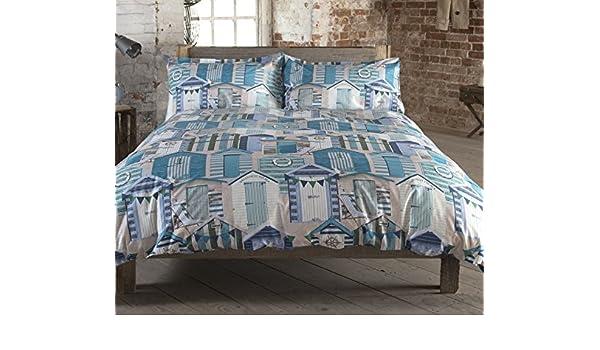 Brooks 100% algodón edredón King Size mar de casetas de playa lado rayas azul Aqua azul lujo edredón juego de cama Hallways®: Amazon.es: Hogar