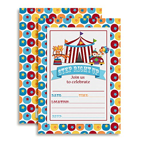 Carnival Circus Invitations, Birthday or Baby Shower, Ten 5