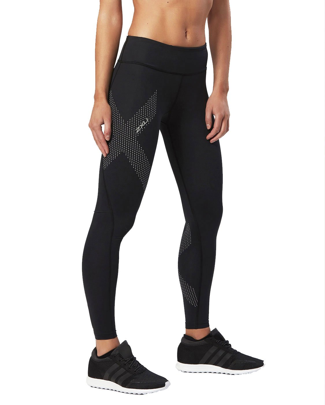 2XU Women's Mid-Rise Compression Tights, Black/Dotted Reflective Logo, Small