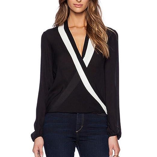 GigaMax(TM) European Style Women Sexy Cross V neck Long Sleeve Chiffon Summer Blouses Black White Shirts Blusas femininas at Amazon Womens Clothing store: