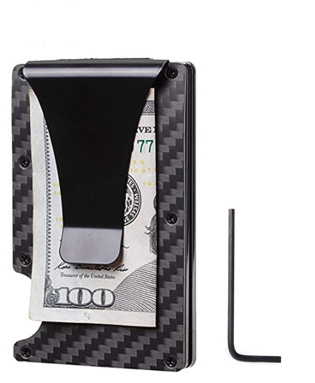 Carbon Fiber Slim Wallet RFID Blocking Metal Front Pocket Wallet
