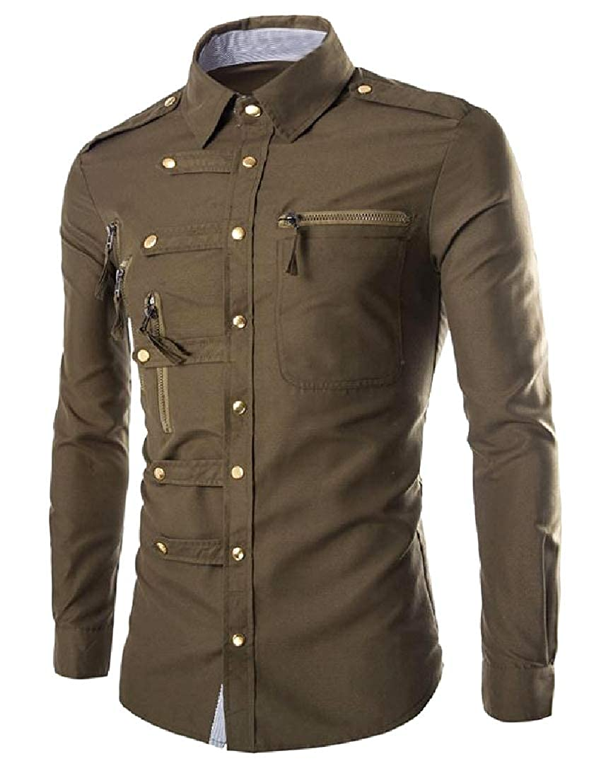 YUNY Mens Original Fit Long Sleeves Point Collar Western Shirt Army Green S