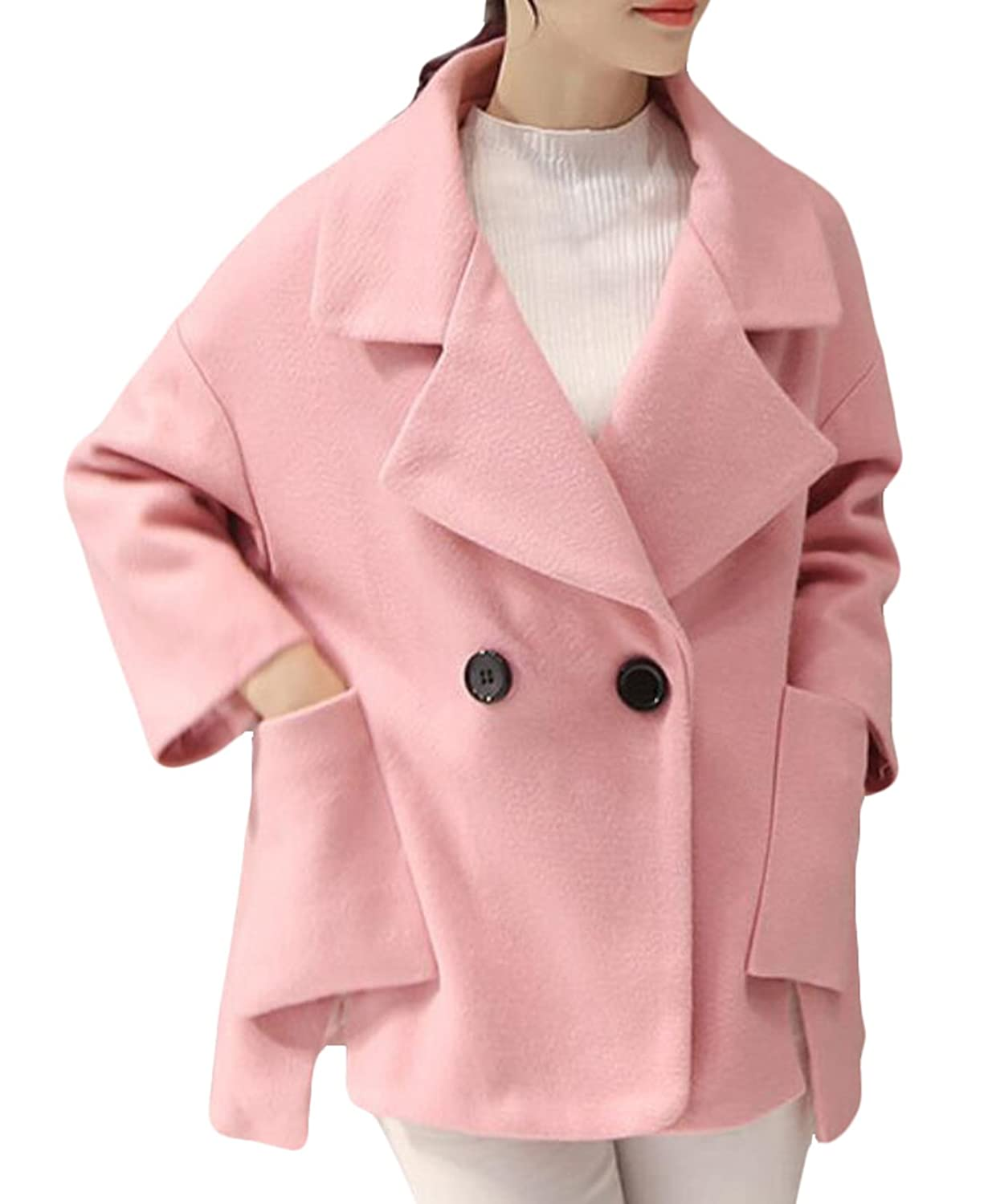 Acquaa Women's Casual Lapel Double-Breasted Short Wool Coat