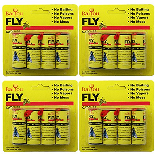 Sttech1 Insect Glue Tape Strips, 4 Packs 16 Rolls Sticky Fly Paper Eliminate Flies Insect Bug Glue Paper Catcher Trap (Yellow)