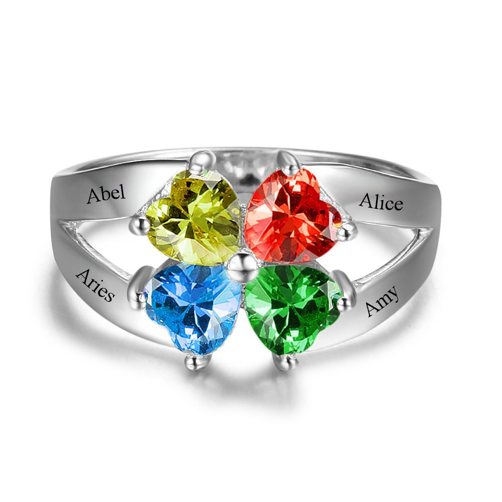 Diamondido Personalized Mother's Day Rings Family Jewelry Engrave Names Simulated Birthstone Rings for Women (6) by Diamondido (Image #3)