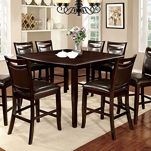 Woodside Traditional Style Dark Cherry Finish 9-Piece Counter Height Table Set