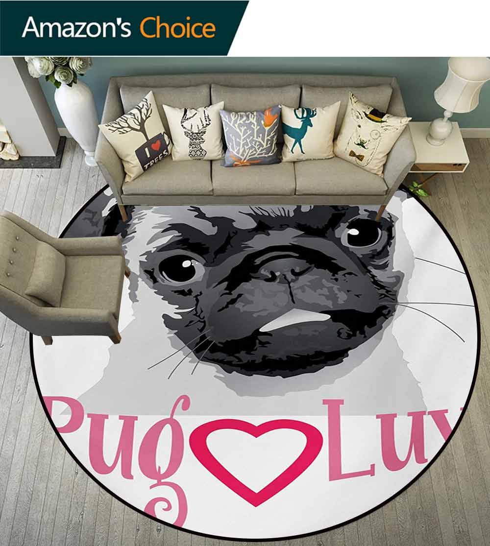 RUGSMAT Pug Modern Flannel Microfiber Round Area Rug,Pug Love Image Cute Grey Toned Drawing of A Dog Pet Animal Fun Bonding Print Living Room Bedroom Study Soft Carpet,Diameter-35 Inch