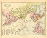 CANADA EAST. 'Dominion of Canada'. Ontario Quebec NB NS. BARTHOLOMEW - 1876 - old map - antique map - vintage map - Canada map s