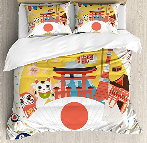 Lantern Duvet Cover Set, Luxury Soft Hotel Quality 4 Piece Queen Plush Microfiber Bedding Sets, Japanese Inspired Commercial Pattern Various Asian Culture Items Cool Cat Origami