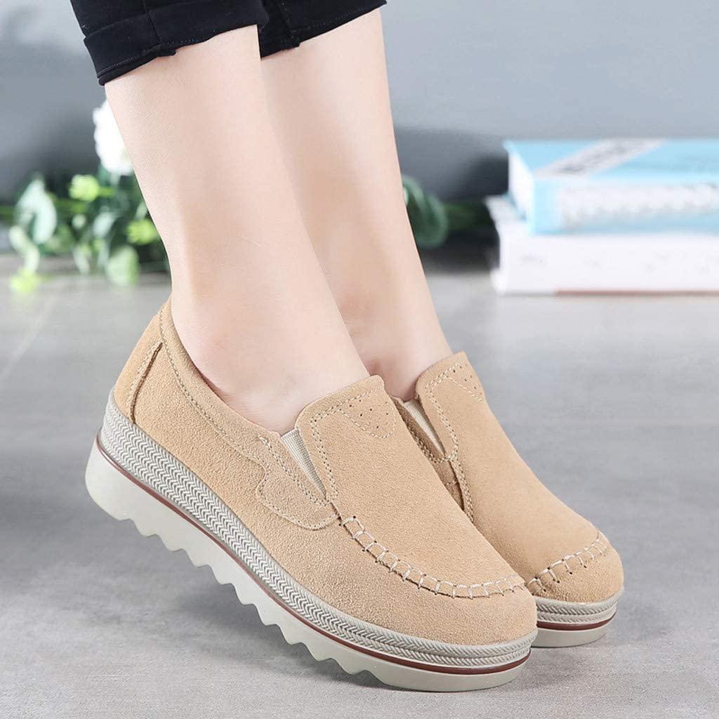 TRENDINAO Loafers for Women Platform Wedge Walking Slip-On Sneakers Comfortable Casual Boat Shoes Moccasins