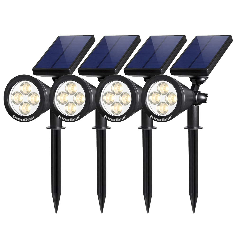 Bright and Dark Sensing Lights for Yard Pathway Walkway Garden Driveway 4 LED Adjustable Wall Lights 2 Pack Auto On//Off OCSEVE Solar Landscape Light Outdoor Waterproof Landscape Lighting