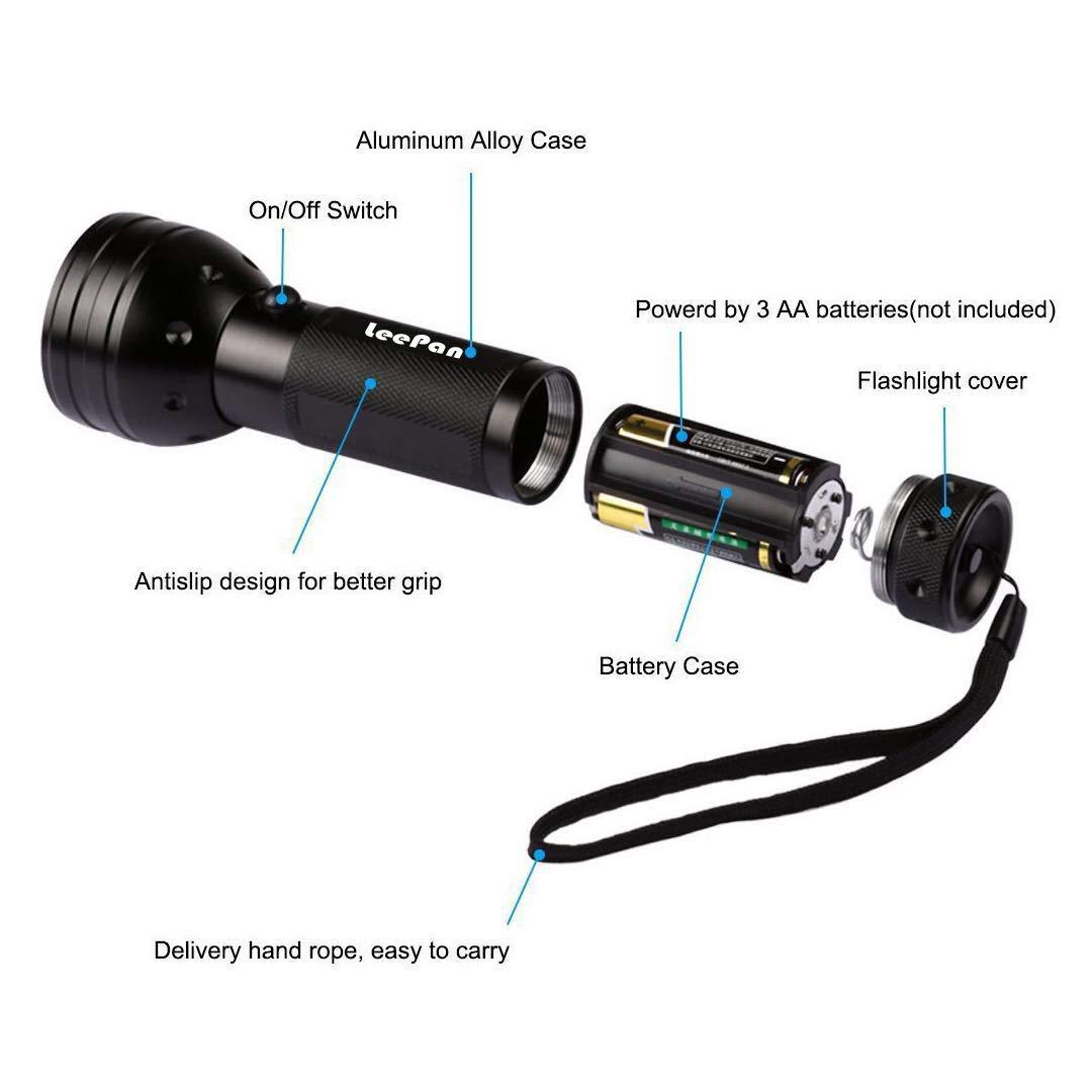 AA Battery Included 51 LED 395nm UV Blacklight Pet Urine Detector for Dog//Cat Urine Dry Stains and Bed Bug LeePan UV Flashlight Black Light UV Light