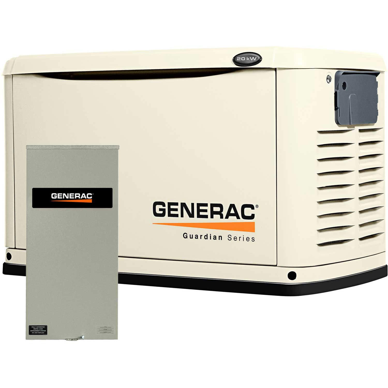 Generac 6729 Guardian Series, 20kW Air Cooled Standby Generator, Natural Gas/Liquid Propane Powered, Steel Enclosed, with 200-Amp Service Rated Switch