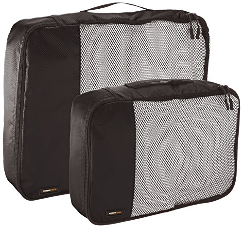 AmazonBasics 4-Piece Packing Cube Set - 2 Medium and 2 Large 4 Double zipper pulls make opening/closing simple and fast Mesh top panel for easy identification of contents, and ventilation Soft mesh won't damage delicate fabrics