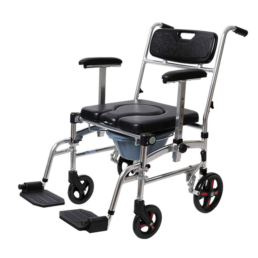 Commode Chair with Wheels - Shower Chair Waterproof Aluminum Portable Bedside Commode Bath Toilet Chair, Adjustable Shower Transport Chair(4 Wheels) 61FmwCi8PQL._SL1001_