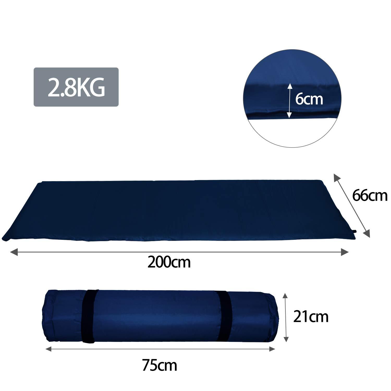 colchoneta Auto-Hinchable Viajes Colchoneta de Camping f/ácil para Llevar Ultraligera Senderismo 190 * 60 * 3CM Azul para Camping Inflable r/ápida wolketon Esterillas Autoinflables Acampada