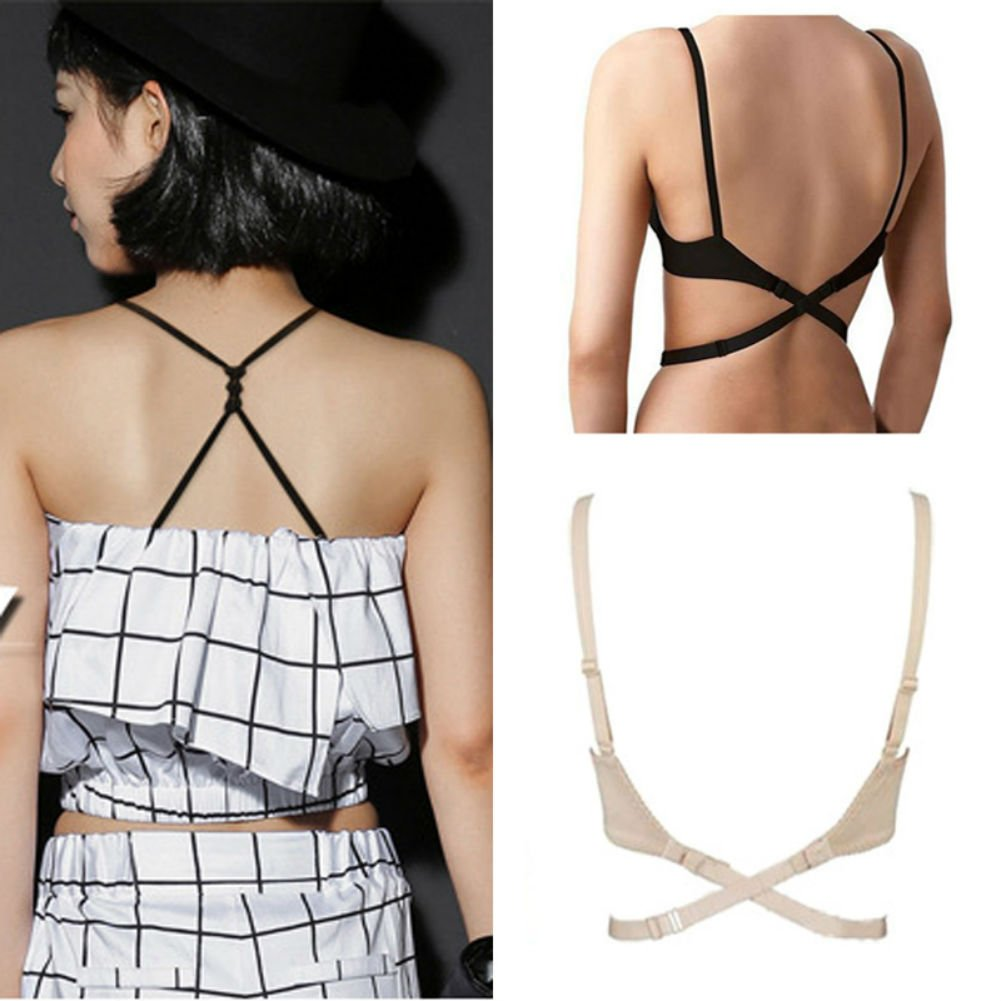 AKOAK 3 Pieces Per Pack Fashion Women Adjustable Backless Bra Straps Converter Low Back Shoulder Strap Extender Bra Belt Extender Extension Straps