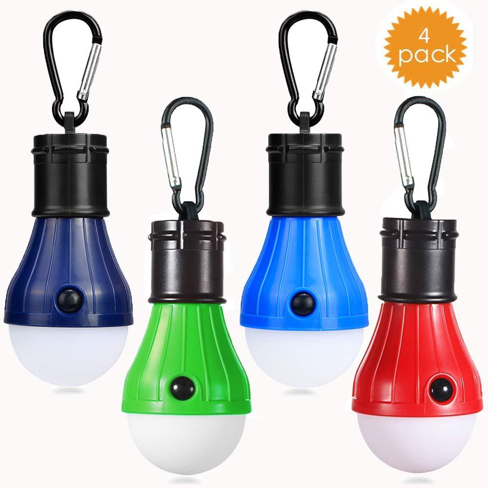 JTENG Lámpara LED para tienda de campaña, 4 unidades, impermeable, con mosquetón, para camping, aventura, pesca, garaje, emergencia, pérdida de potencia